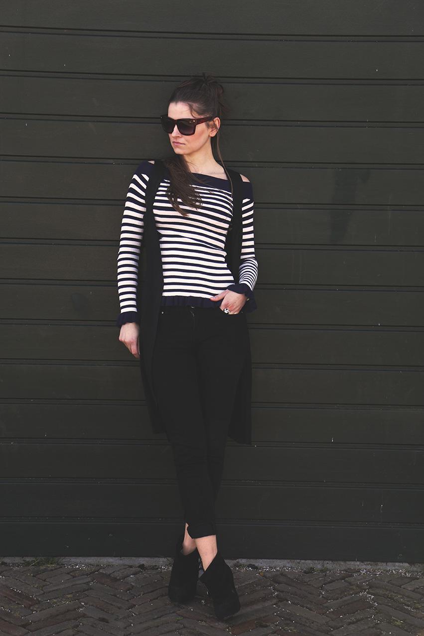 black jeans, stripes