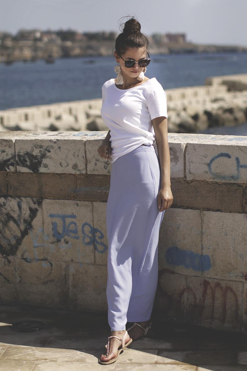 maxi skirt & t shirt