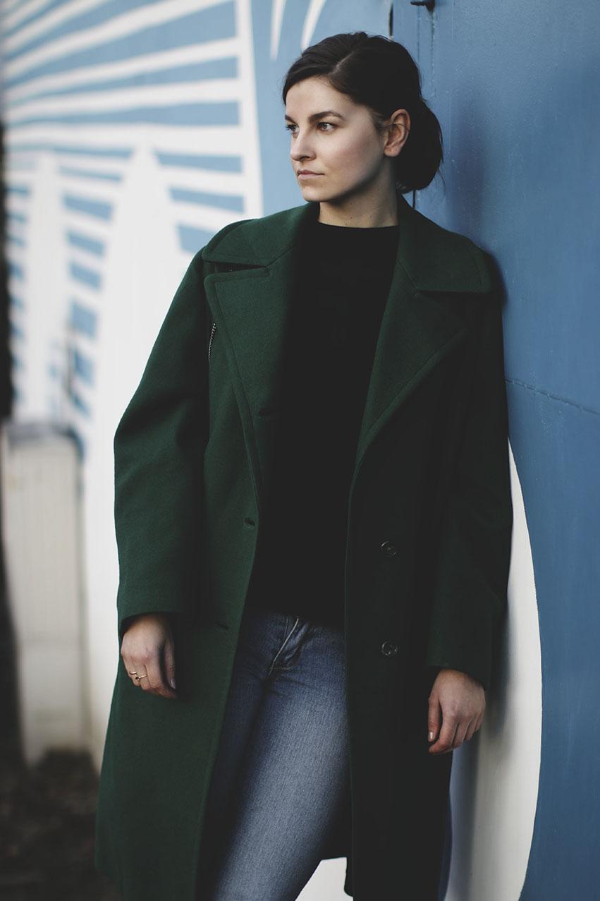 zielony plaszcz